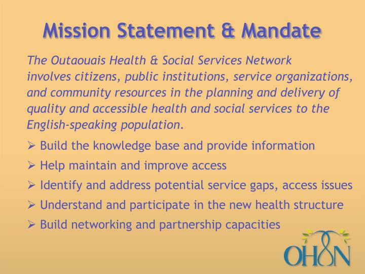 Mission statement mandate