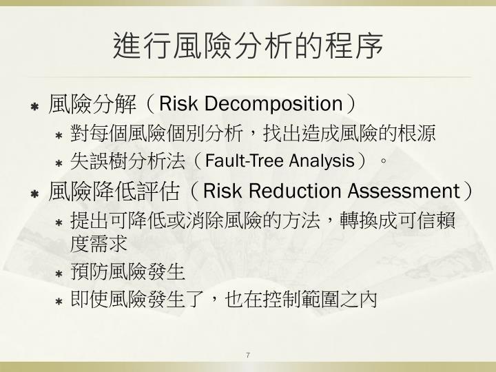 進行風險分析的程序
