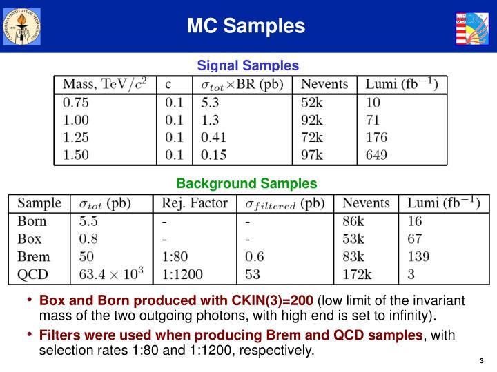 Mc samples