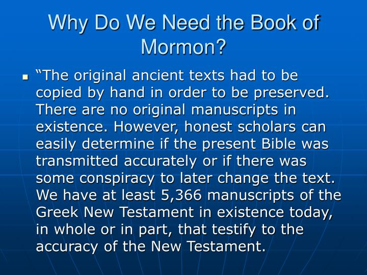 Why Do We Need the Book of Mormon?