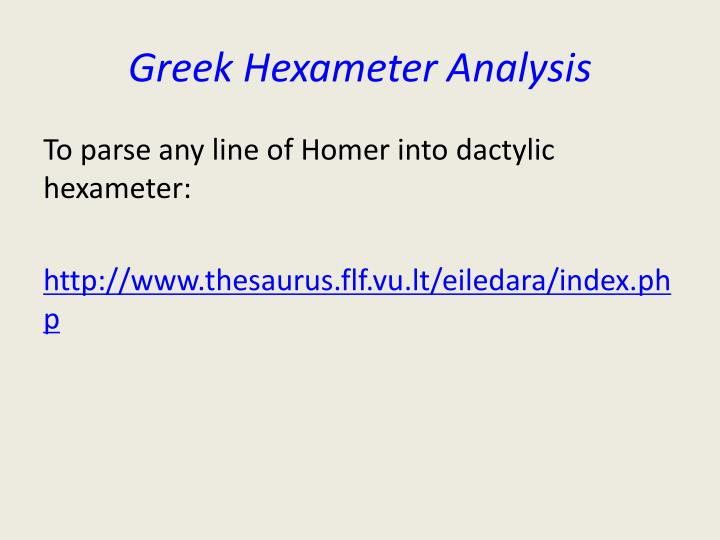 Greek Hexameter Analysis
