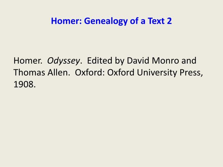 Homer: Genealogy of a Text 2