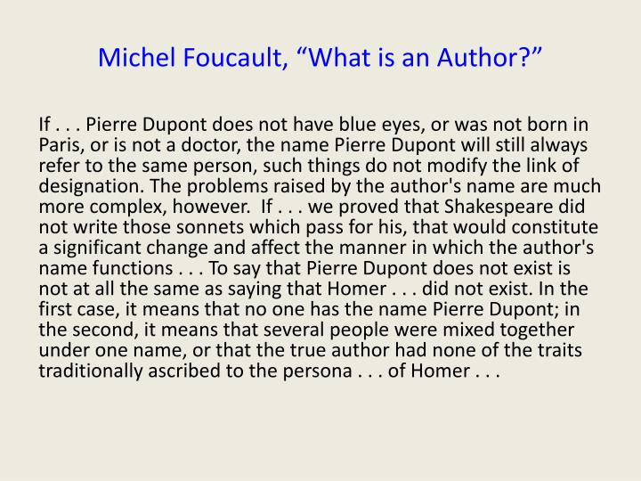 Michel foucault what is an author