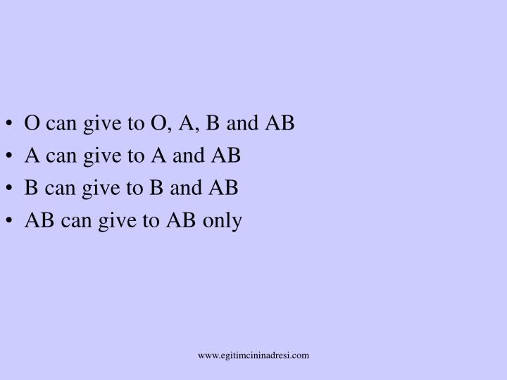 O can give to O, A, B and AB