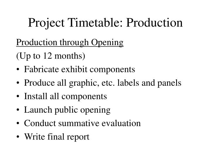 Project Timetable: Production