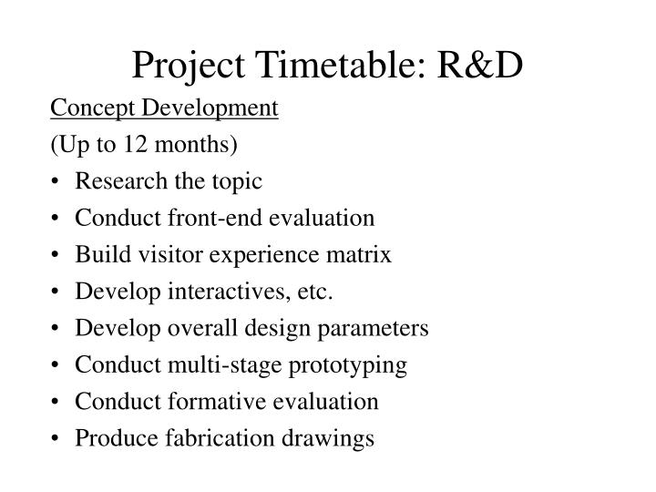Project Timetable: R&D