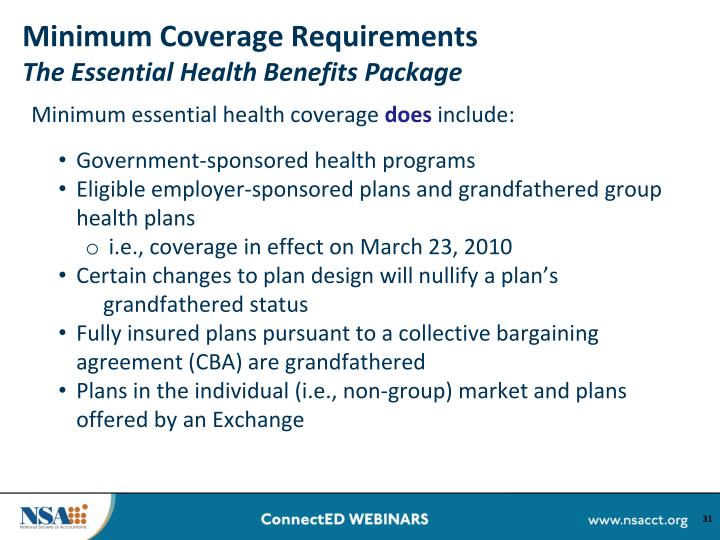 Ppt the affordable care act understanding the - Minimum essential coverage plan design ...