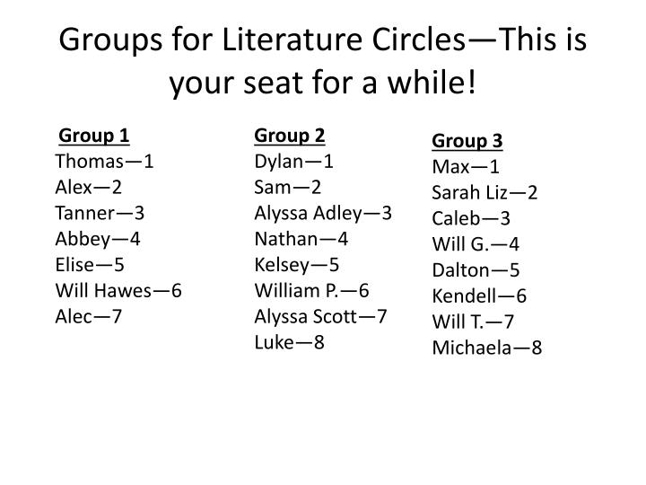 groups for literature circles this is your seat for a while n.