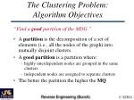 the clustering problem algorithm objectives