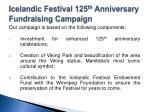 icelandic festival 125 th anniversary fundraising campaign