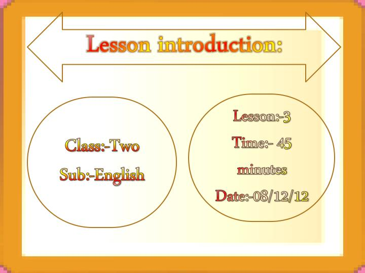 Lesson introduction: