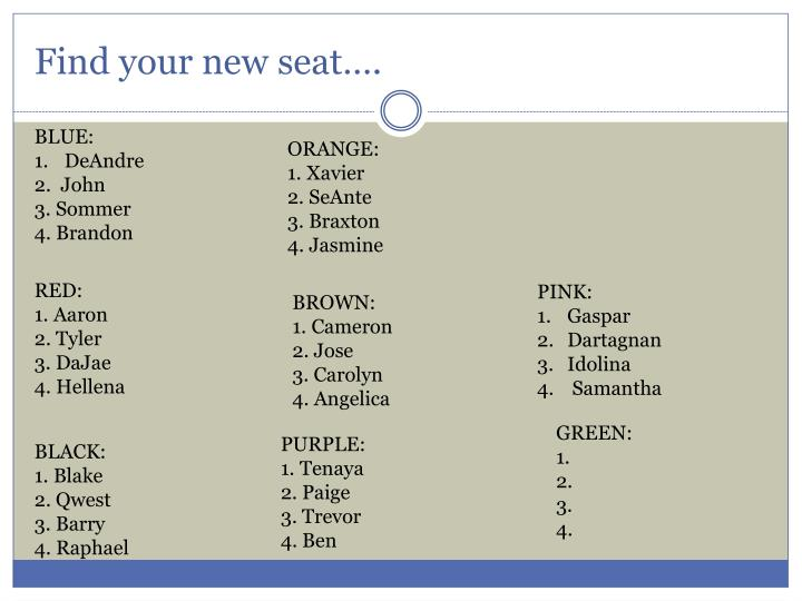 find your new seat n.