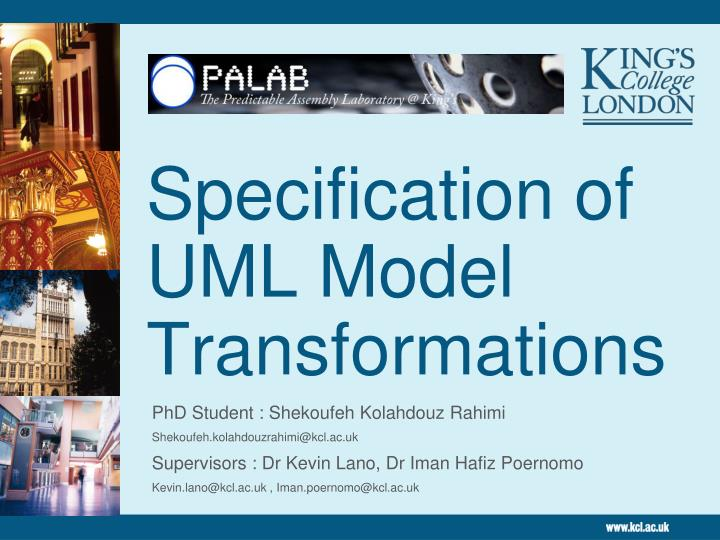 specification of uml model transformations n.