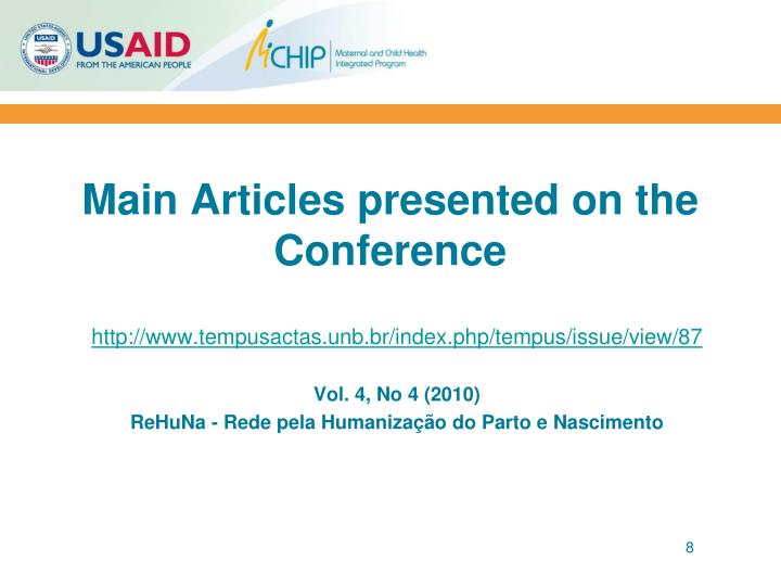 Main Articles presented on the Conference
