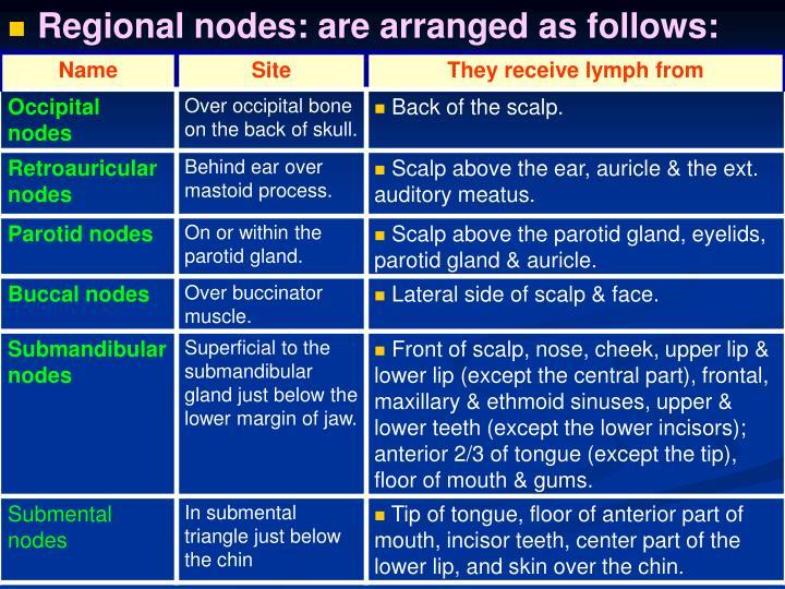 Regional nodes: are arranged as follows: