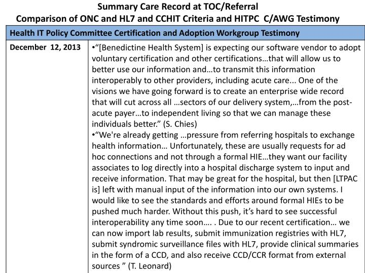 Summary Care Record at TOC/Referral