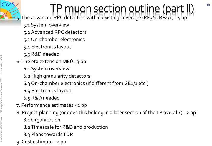 TP muon section outline (part II)