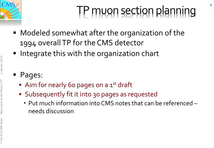 TP muon section planning