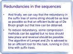 redundancies in the sequences