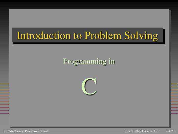introduction to problem solving n.