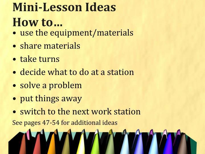 Mini-Lesson Ideas