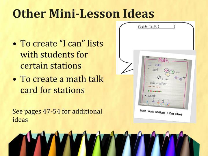 Other Mini-Lesson Ideas