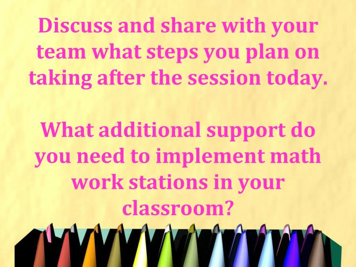 Discuss and share with your team what steps you plan on taking after the session today.
