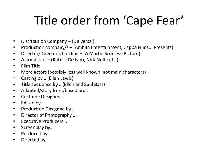 Title order from cape fear