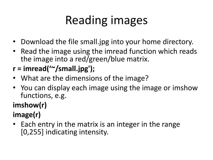 Reading images