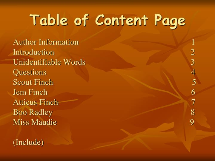 Table of Content Page