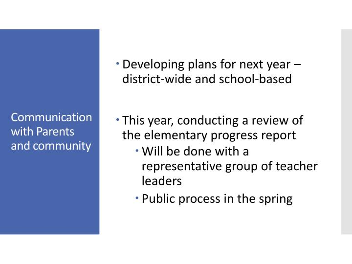 Developing plans for next year – district-wide and school-based