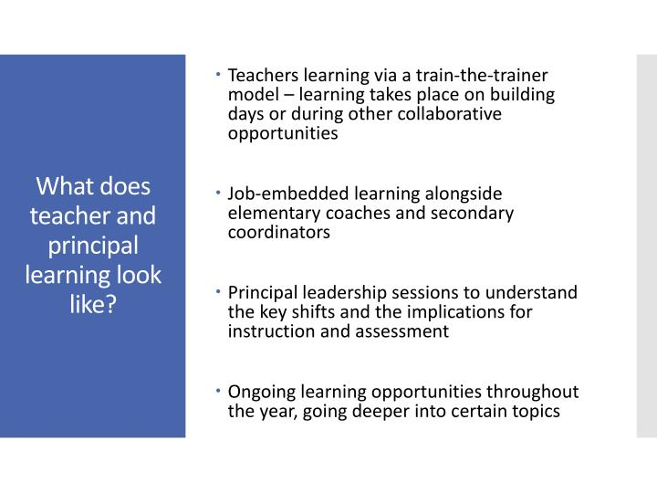Teachers learning via a train-the-trainer model – learning takes place on building days or during other collaborative opportunities