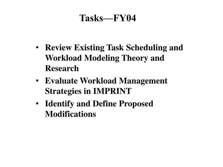 Tasks fy04
