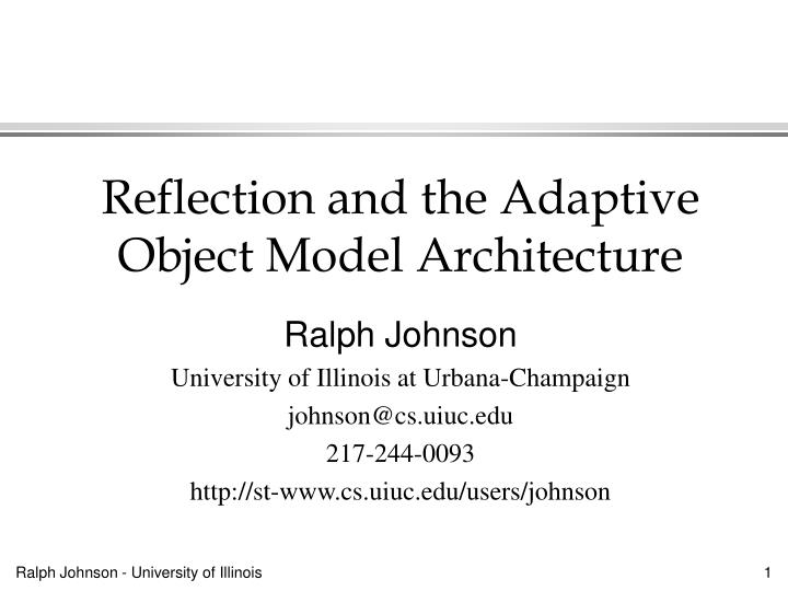 reflection and the adaptive object model architecture n.