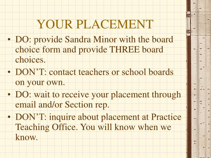 YOUR PLACEMENT