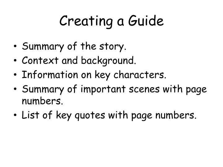 Creating a Guide