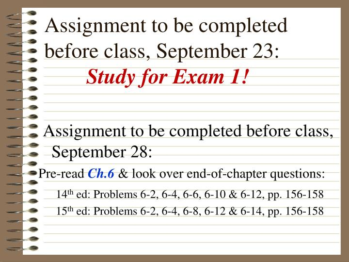 Assignment to be completed before class, September 23: