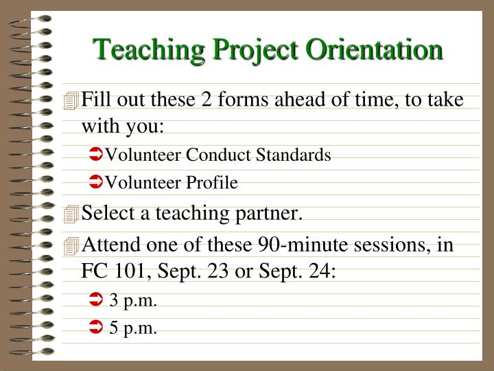 Teaching project orientation