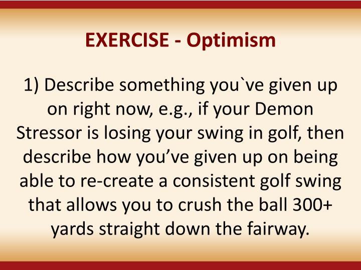 EXERCISE - Optimism