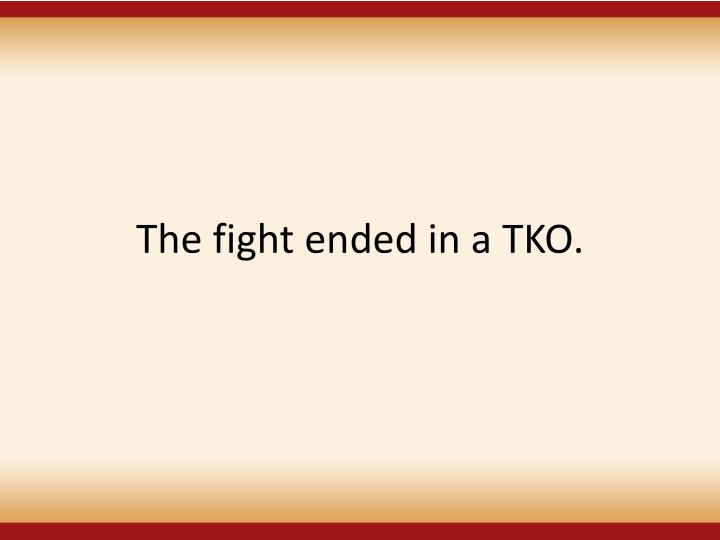 The fight ended in a TKO.