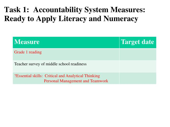 Task 1:  Accountability System Measures: