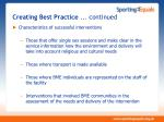 creating best practice continued