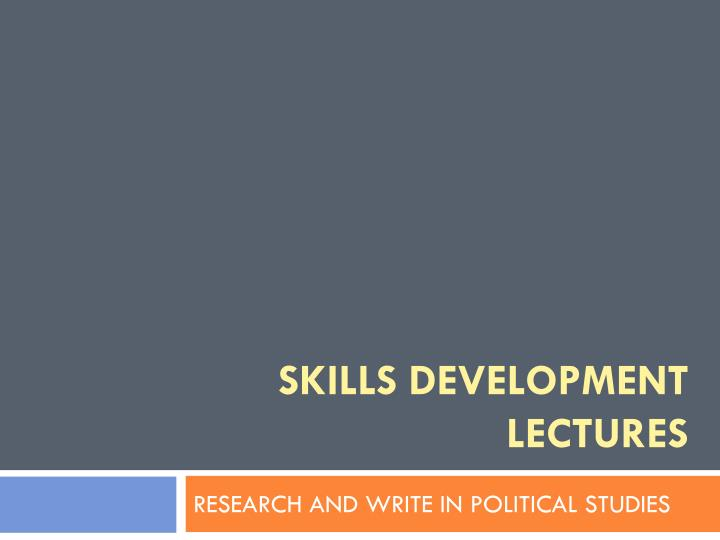 skills development lectures n.