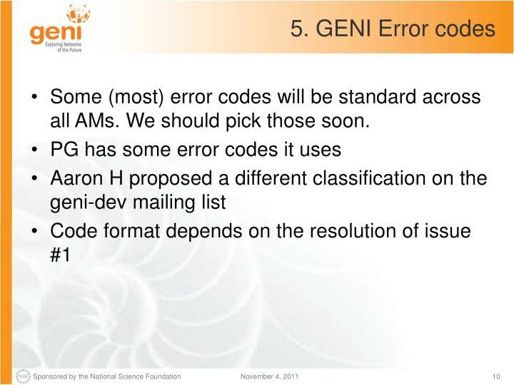 5. GENI Error codes