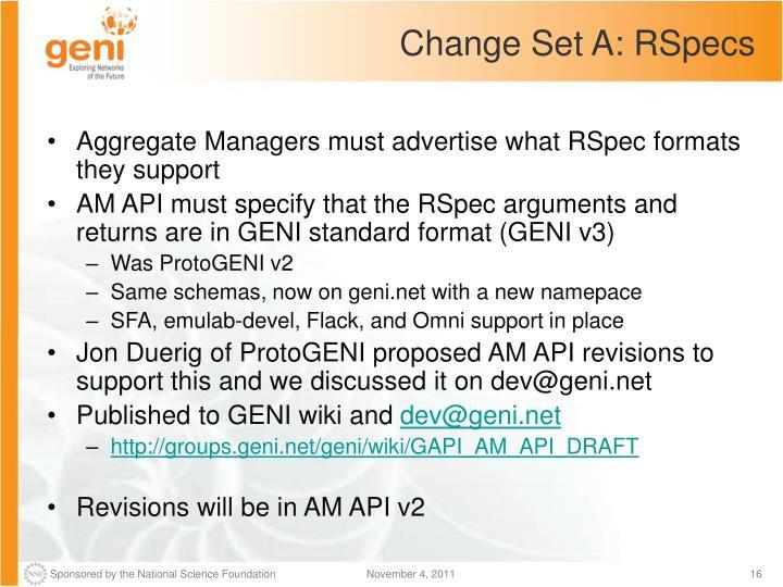Change Set A: RSpecs