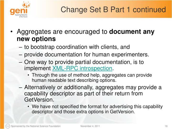 Change Set B Part 1 continued