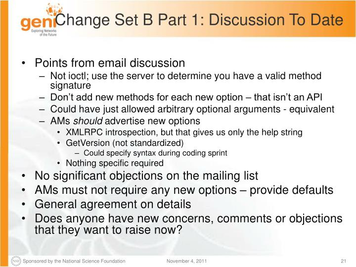 Change Set B Part 1: Discussion To Date