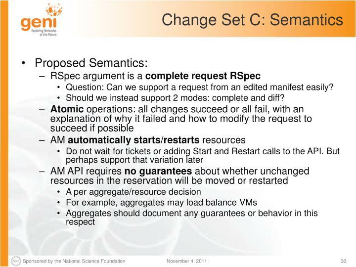 Change Set C: Semantics