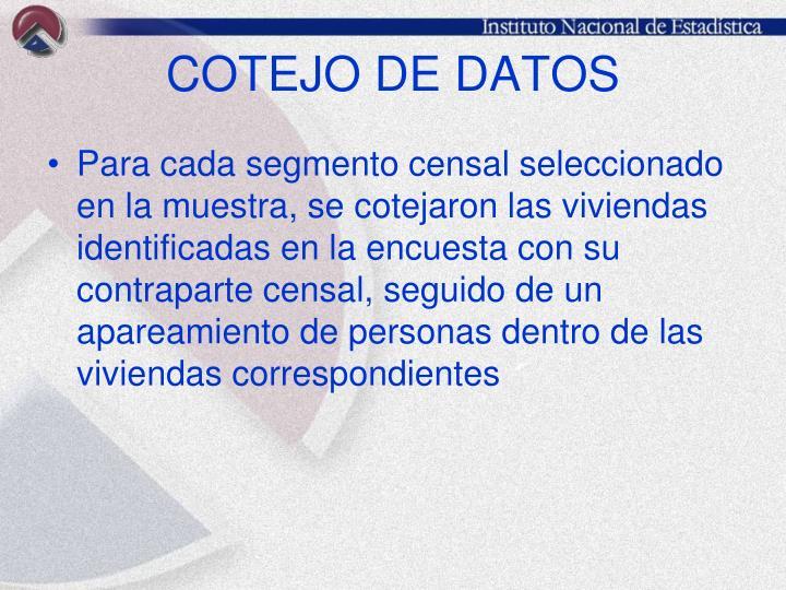 COTEJO DE DATOS