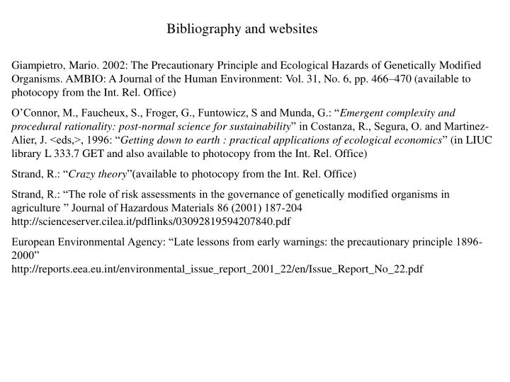 Bibliography and websites